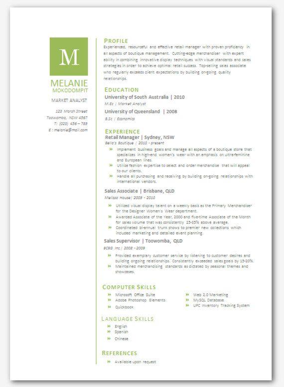 Modern Microsoft Word Resume Template Melanie By Inkpower