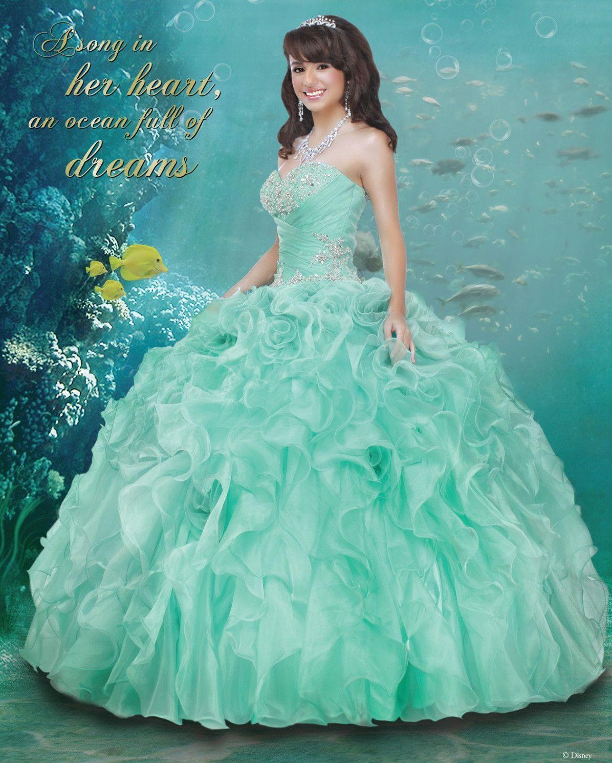bc0377d0cc Disney Royal Ball Quinceanera Dress Ariel Style 41011