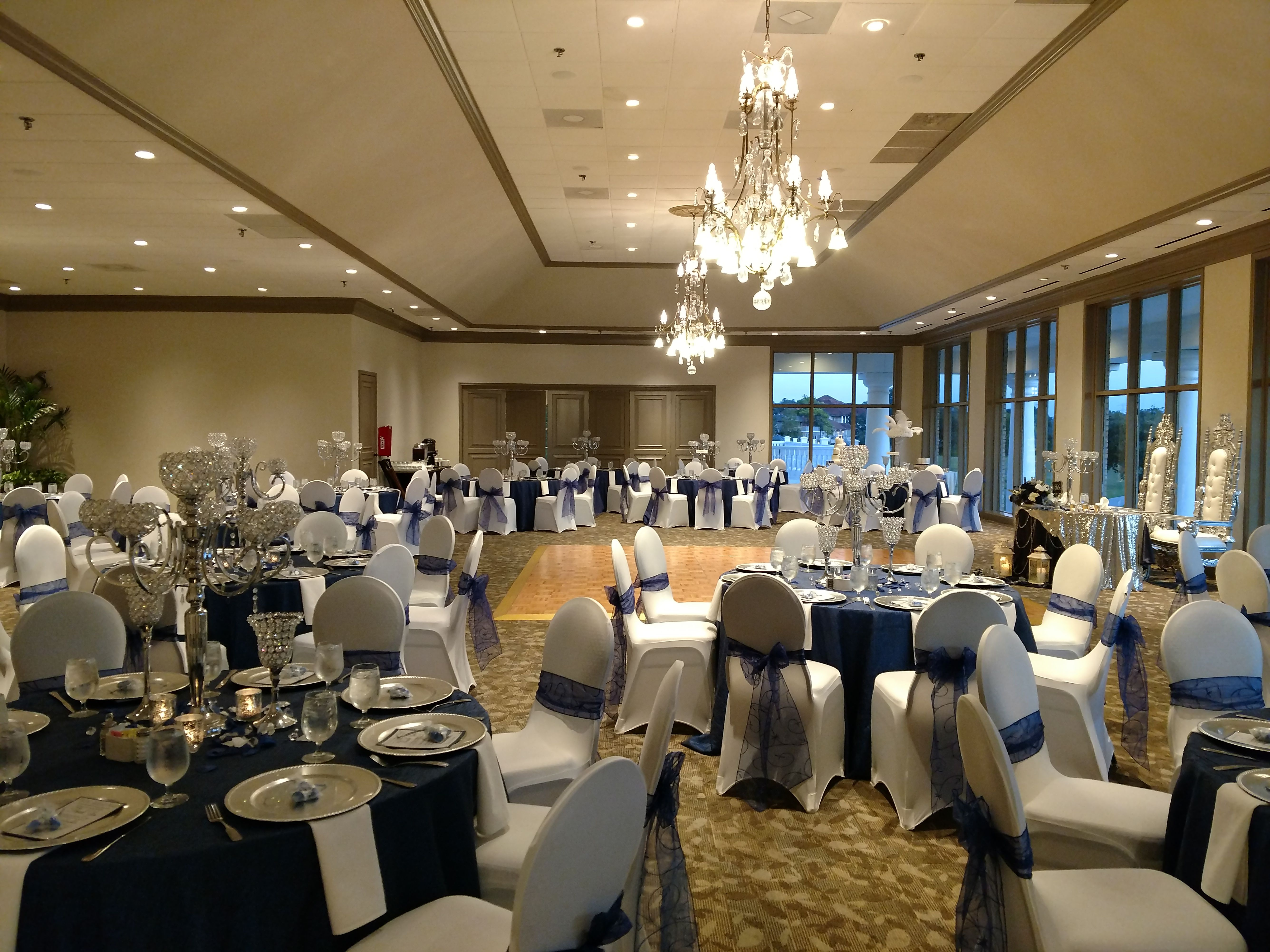 Wedding Reception With Ivory Chair Covers Navy Blue Organza Chair