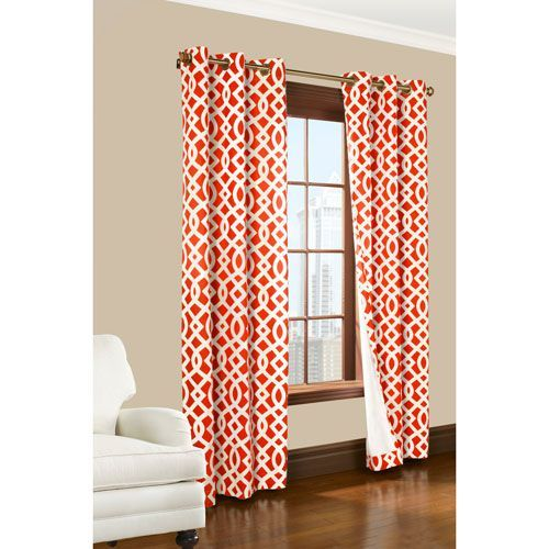 Trellis Coral 72 X 80 Inch Grommet Curtain Panel Pair Insulated