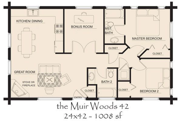 Muir Woods 42 Log Cabin Floor Plans Cottage Floor Plans Country House Floor Plan