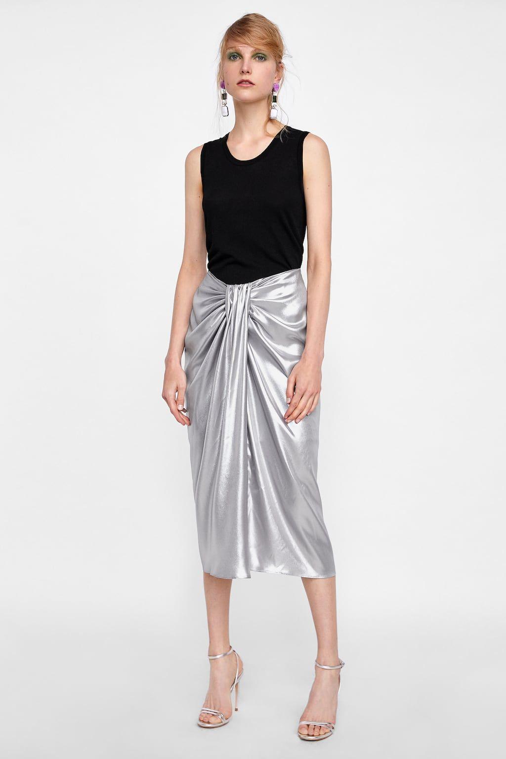 Image 1 De Jupe Drapee Effet Metallise De Zara Draped Skirt Eve Outfit Skirts