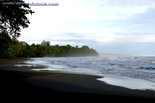 Cahuita Sunrise Black Sand Beach In Costa Rica