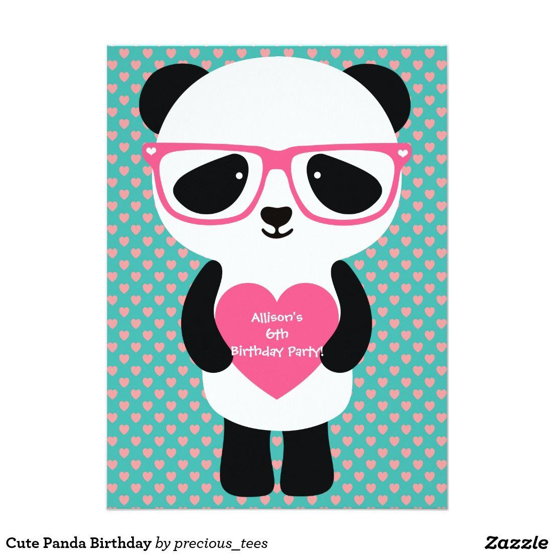 Cute Panda Birthday Invitation   Pinterest   Panda birthday, Panda ...