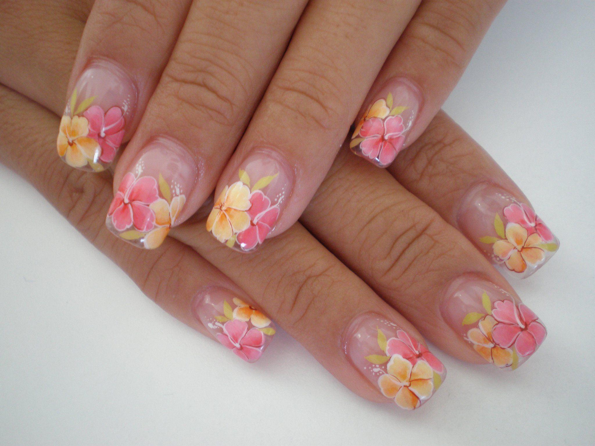 Hibiscus flower nails nails pinterest nails nail art and hibiscus flower nails hawaiian flowers hibiscus flowers one stroke nails fingernail designs izmirmasajfo