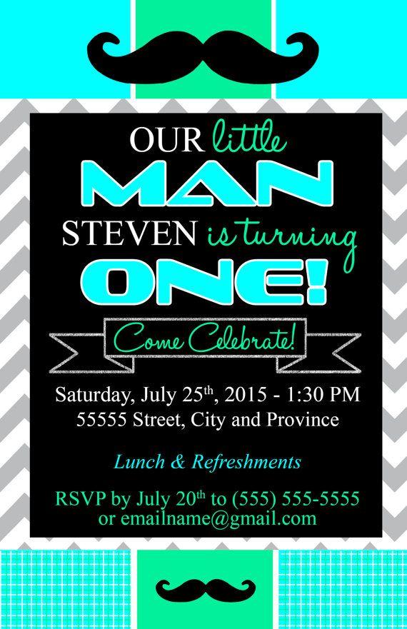 Little man birthday invitation evite- ANY theme or color scheme ...