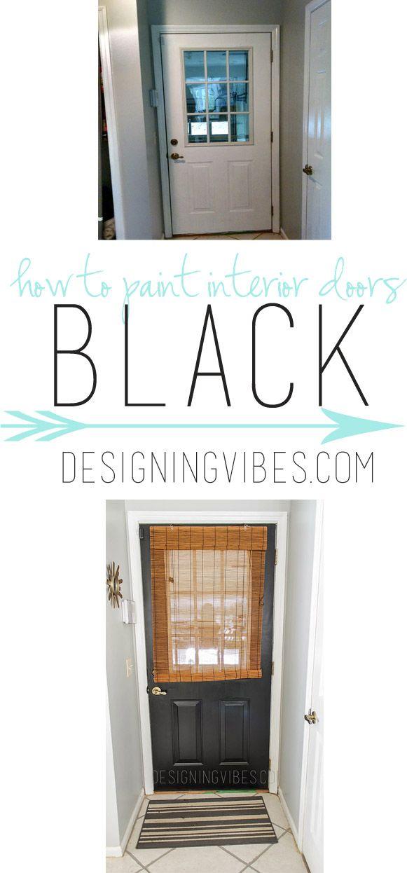 How To Paint Your Doors Black Diy Door Before And After Interior