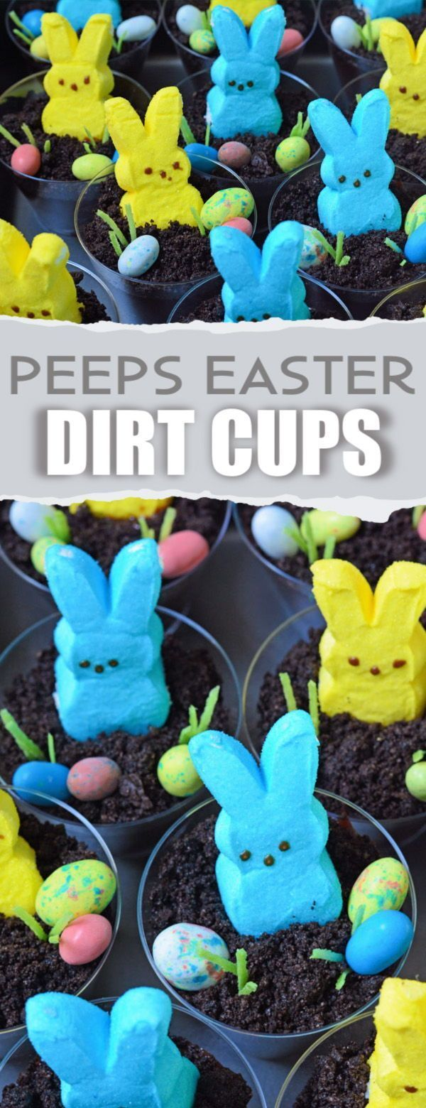Easter Dirt Cups made with PEEPS  Chocolate pudding Easy Easter themed snack t  Easter Dirt Cups made with PEEPS  Chocolate pudding Easy Easter themed snack to make for a...