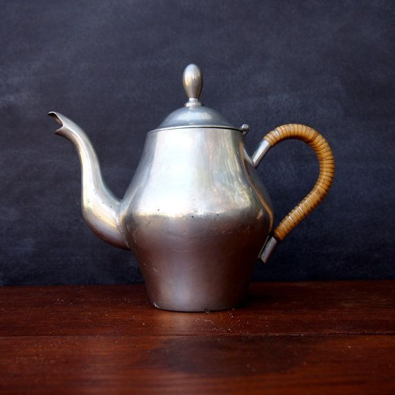 Indonesian Silver Teapot with RattanWrapped by TheFickleFern, $15.20