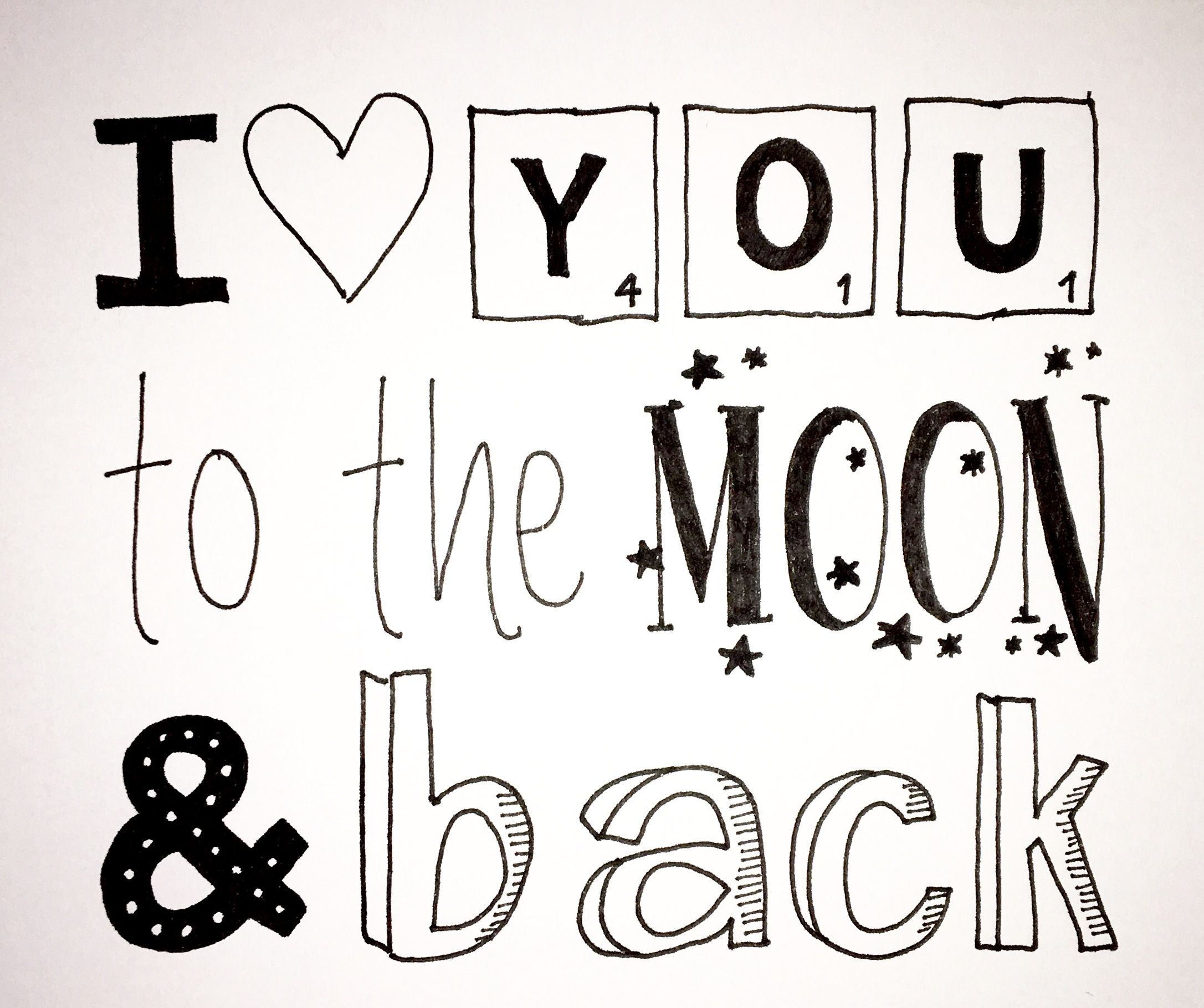 i you to the moon and back calligraphy