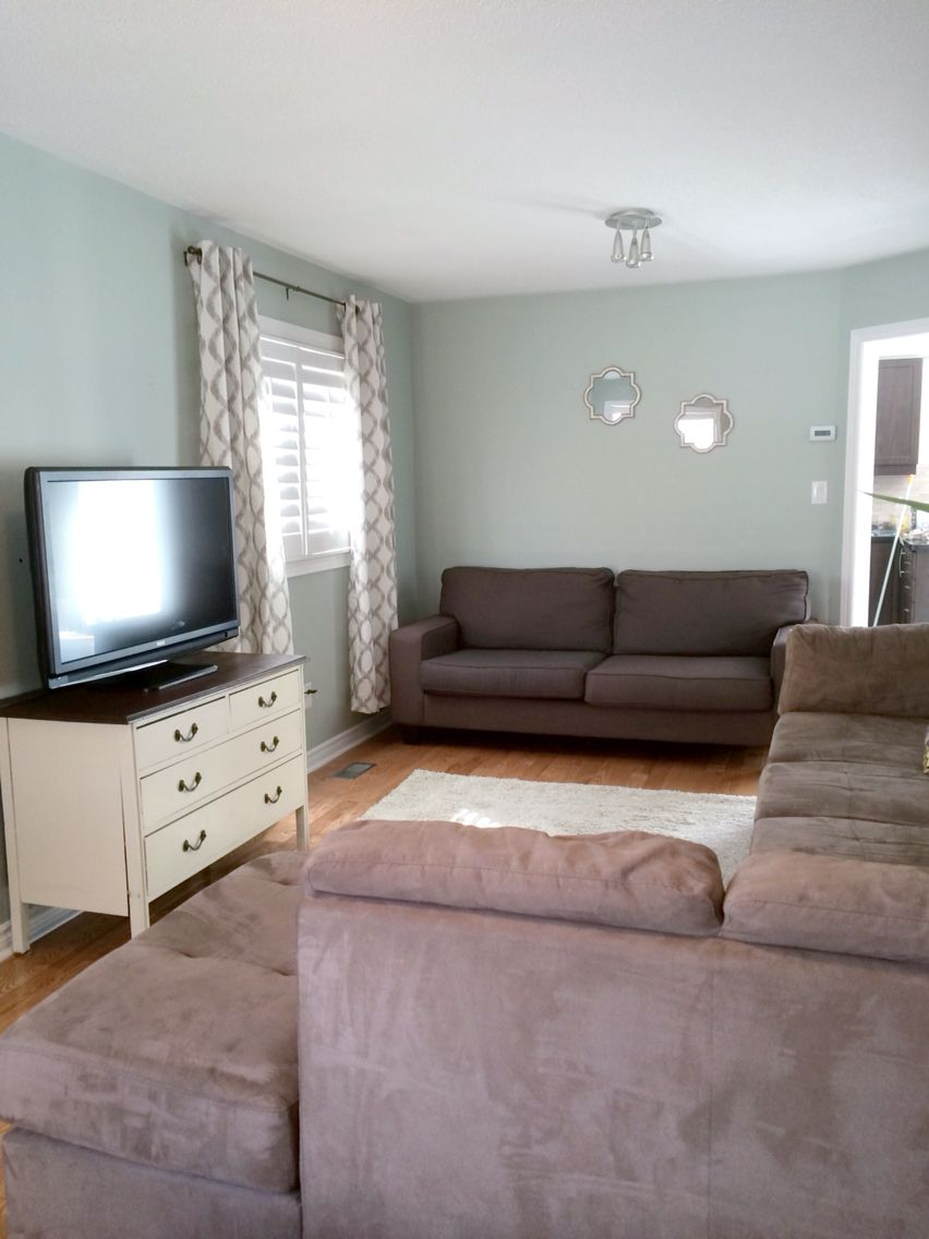 Living Room Makeover Wall Colour Sherwin Williams Comfort Gray Sofa The Brick Rug And Window