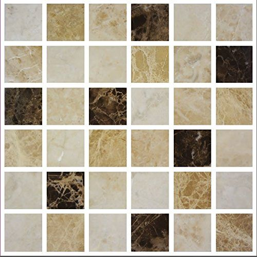 Pack Of 10 Coffee Brown Cream Mosaic Tile Transfers Stickers Bathroom  Kitchen Part 96