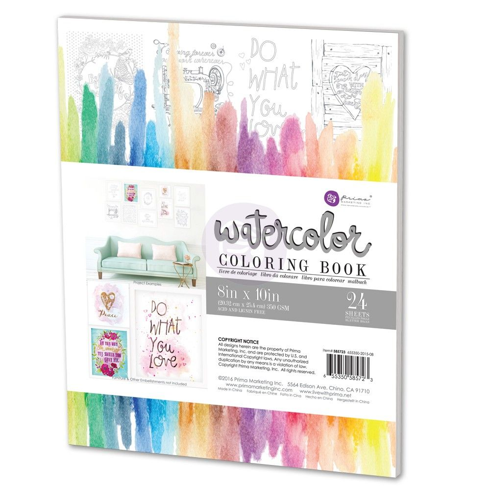 8x10 Watercolor Coloring Book Watercolor Books Coloring Books