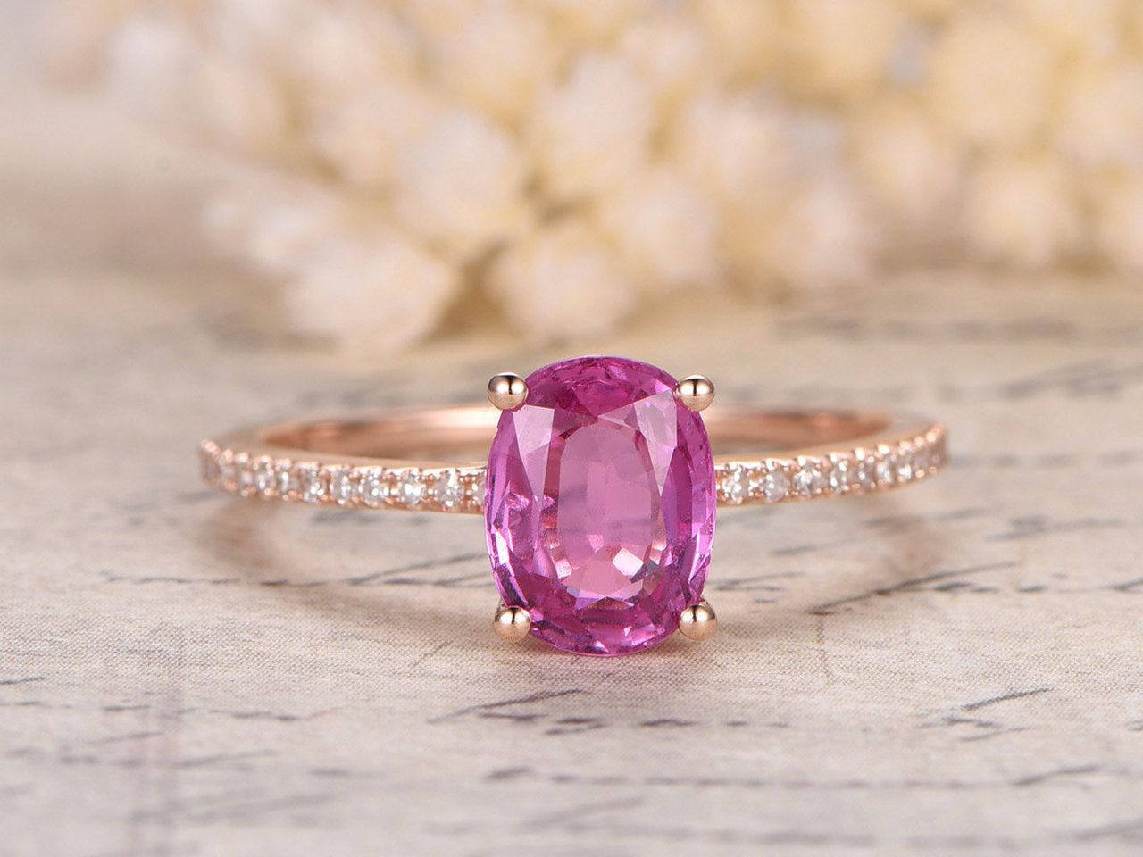 6x8mm Oval Cut Pink Sapphire Engagement Ring,Open Bottom,14K Rose ...