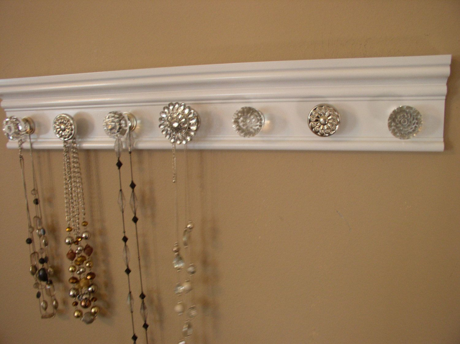 Jewelry Wall Organizer U Choose 57 Or 9 Knobs For This White Jewelry Organizeralso Add