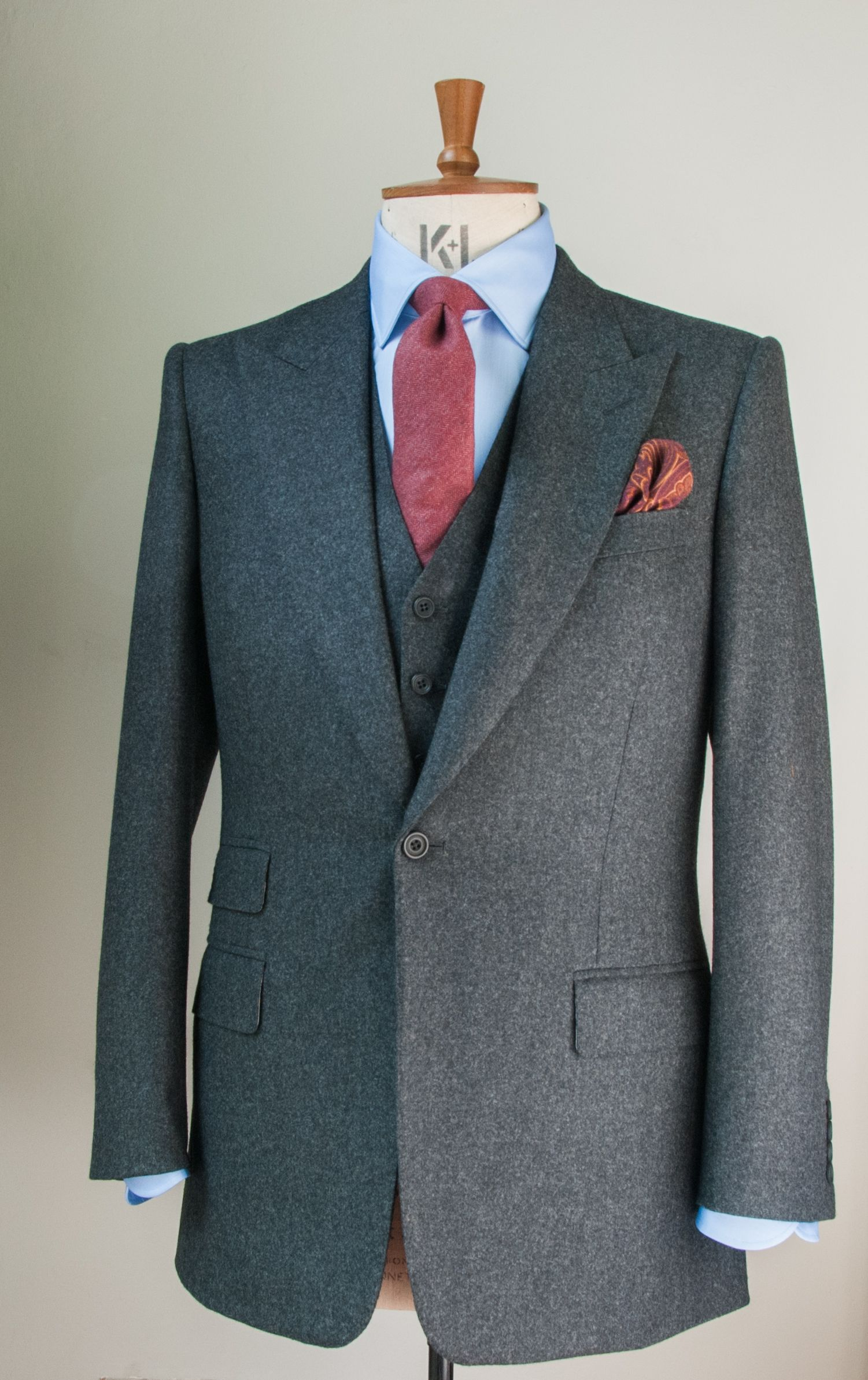 Edward sexton made to measure grey flannel suit with for Blue suit grey shirt