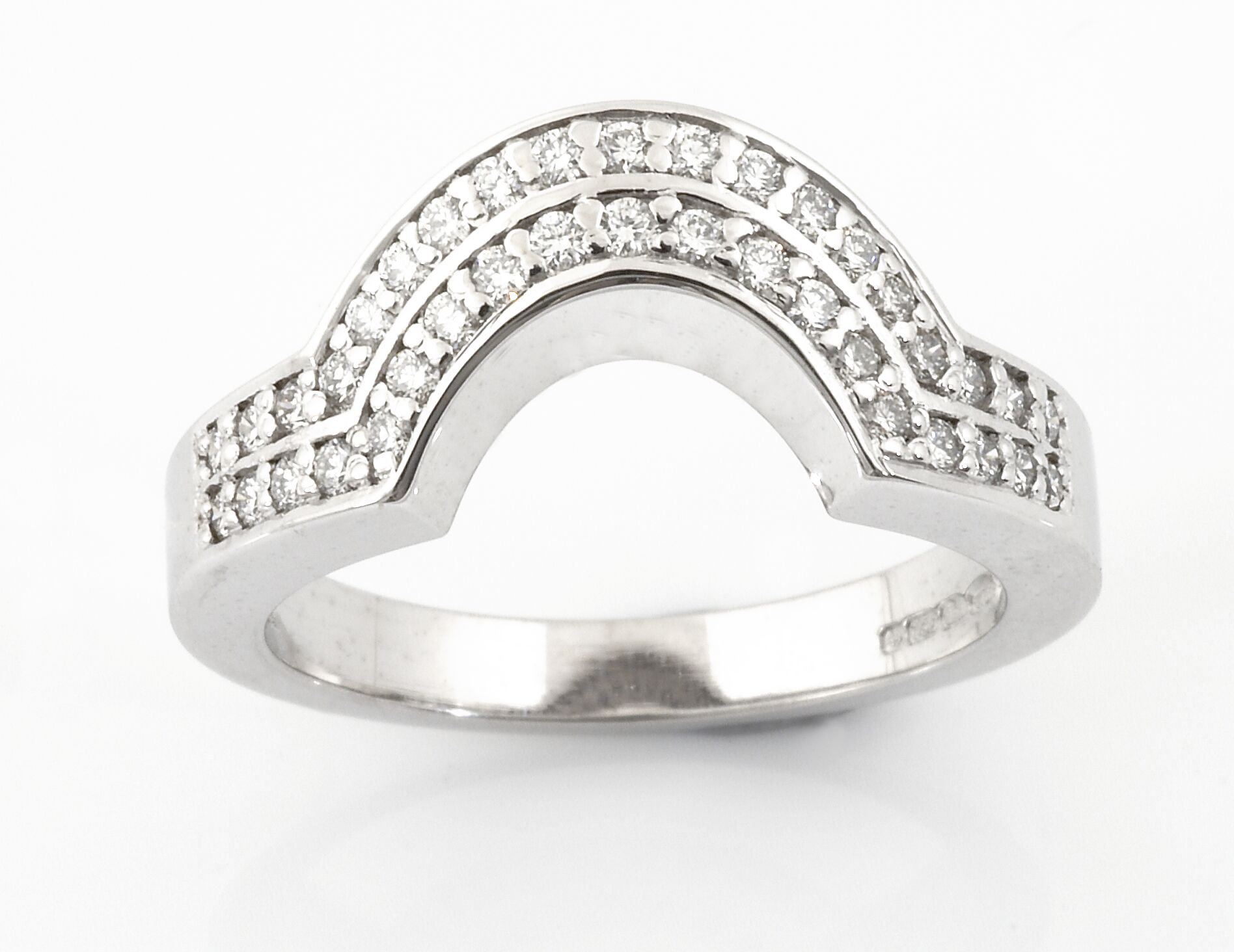 Matching fit 18ct White Gold twin channel wedding ring