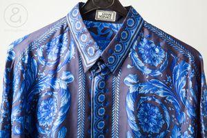 b2c5c4a0 Image of Gianni Versace silk shirt blue barocco sz48 :: vintage clothing