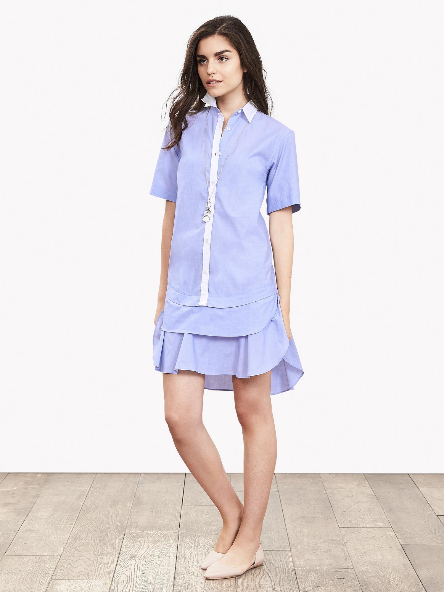 BR Non-Iron Tiered Shirtdress