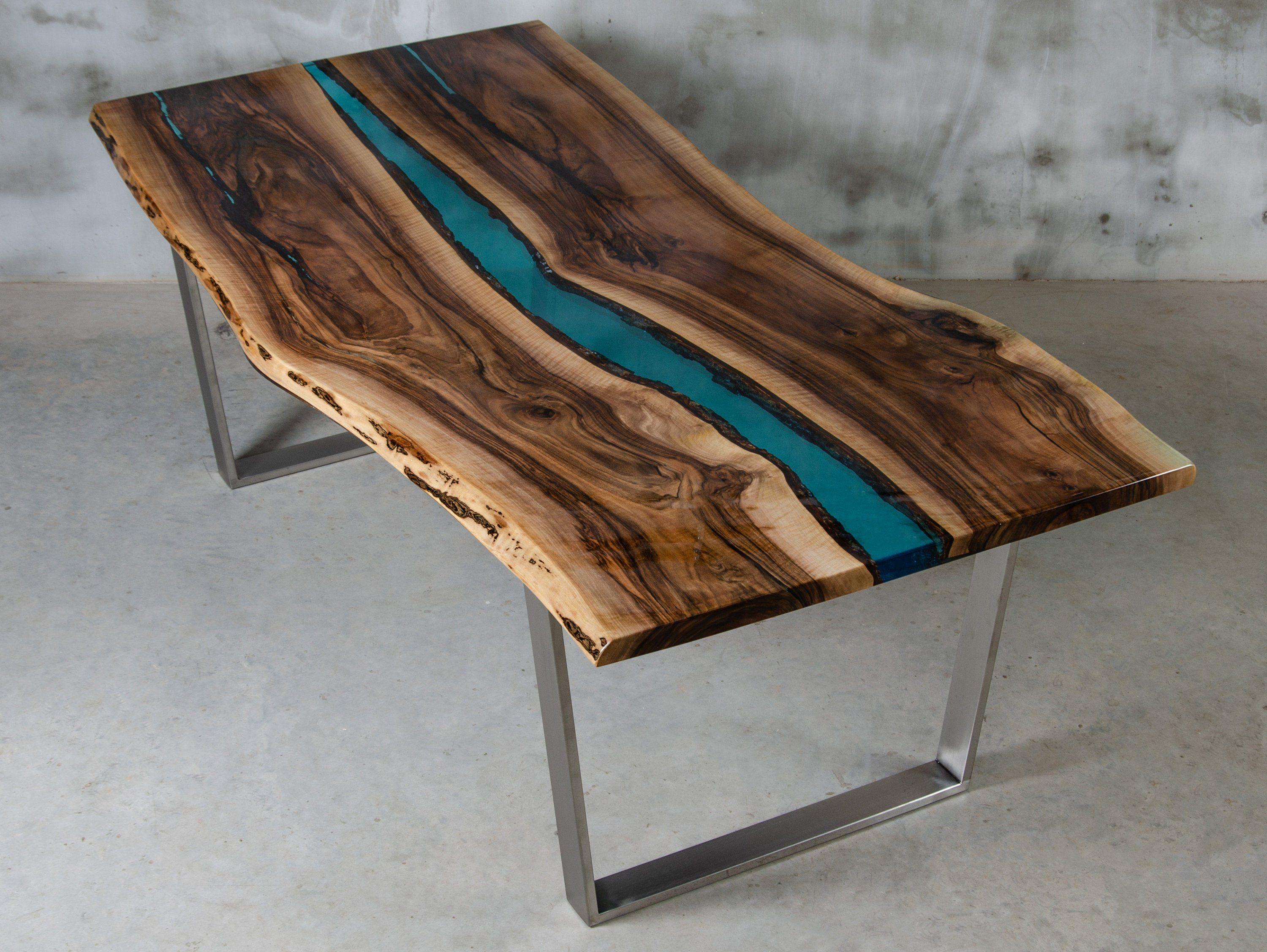 Custom Live Edge Table Made Of Walnut Wood And Blue Resin Uv Resin Table Dining Epoxy Table Unique Conference Table Industrial Style