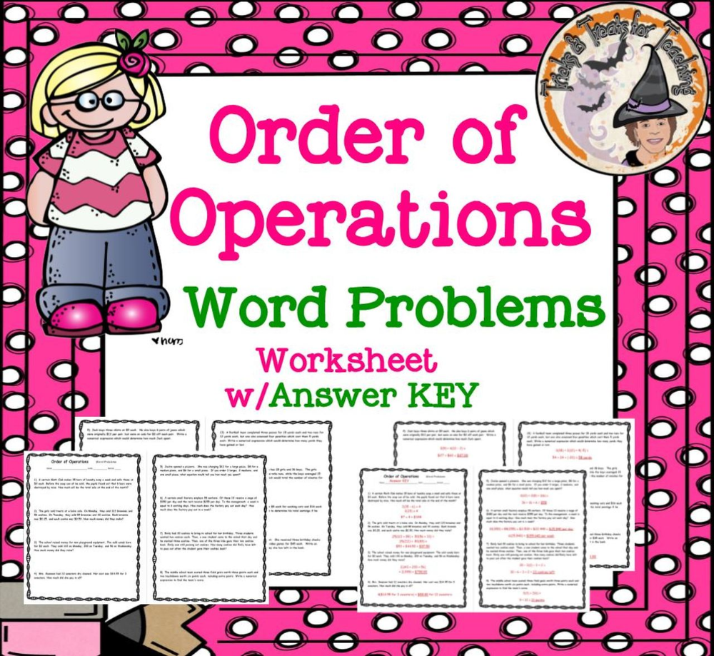 Order of Operations Word Problems Worksheet & Answer Key