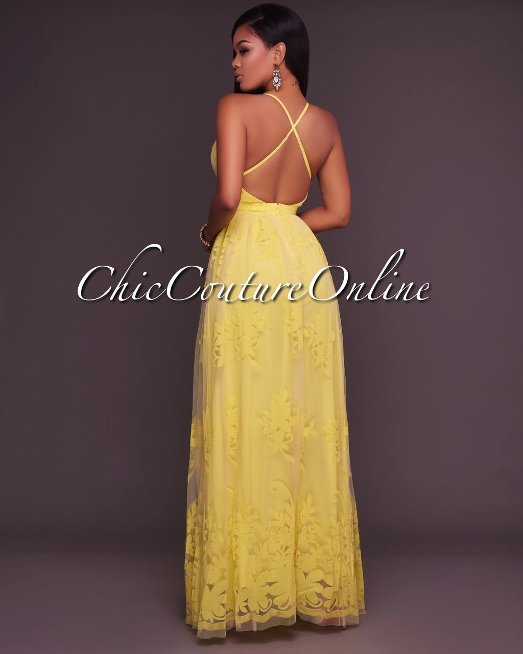 0c54f63cad6 Chic Couture Online - Amabel Yellow Floral Print Nude Tulle Maxi Dress