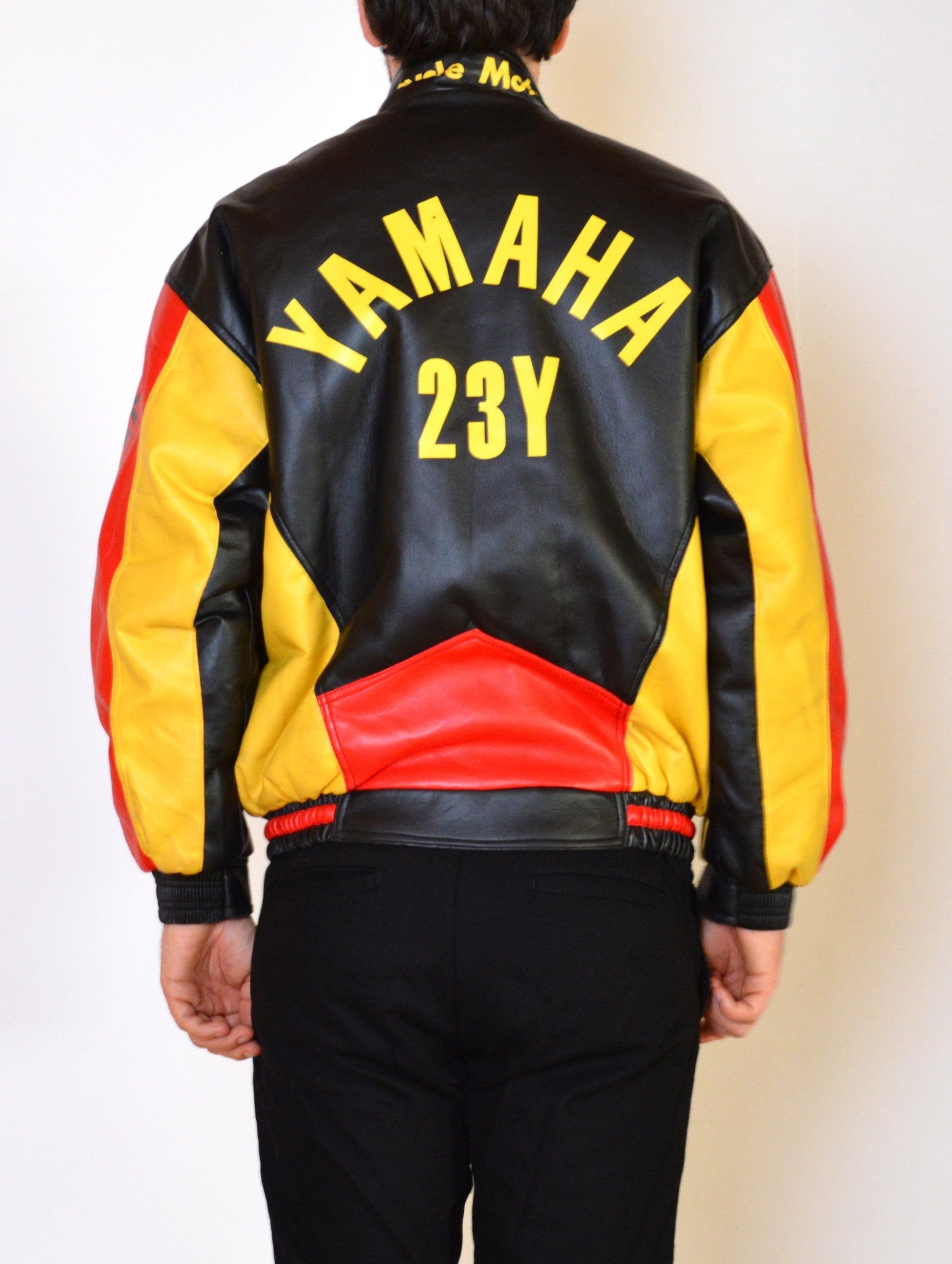 90's Yamaha Racing motorcycle jacket, vintage faux leather