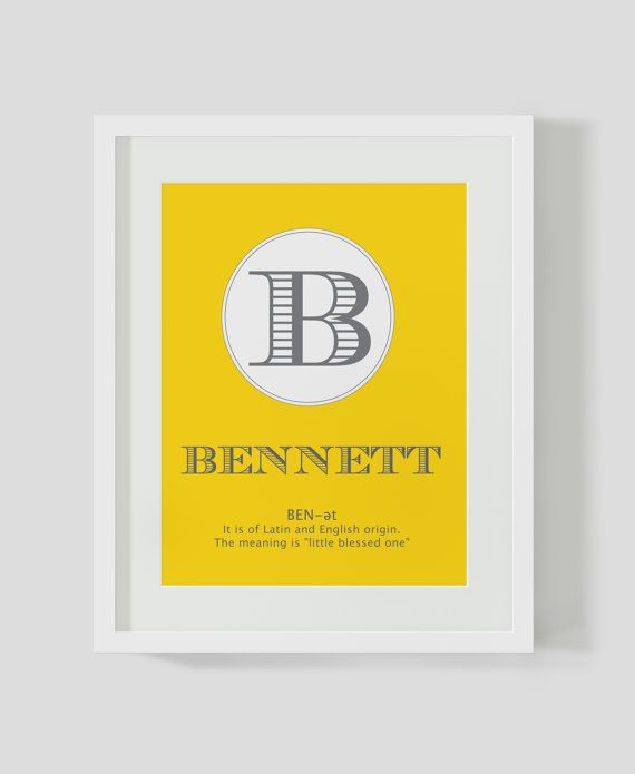 Yellow Name Meaning Art Nursery - Printable. Boy Poster. Capital ...
