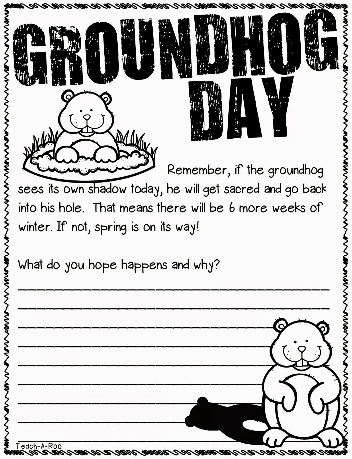 Teach-A-Roo: Groundhogs Make Me Giggle!   Groundhog day [ 1600 x 1228 Pixel ]