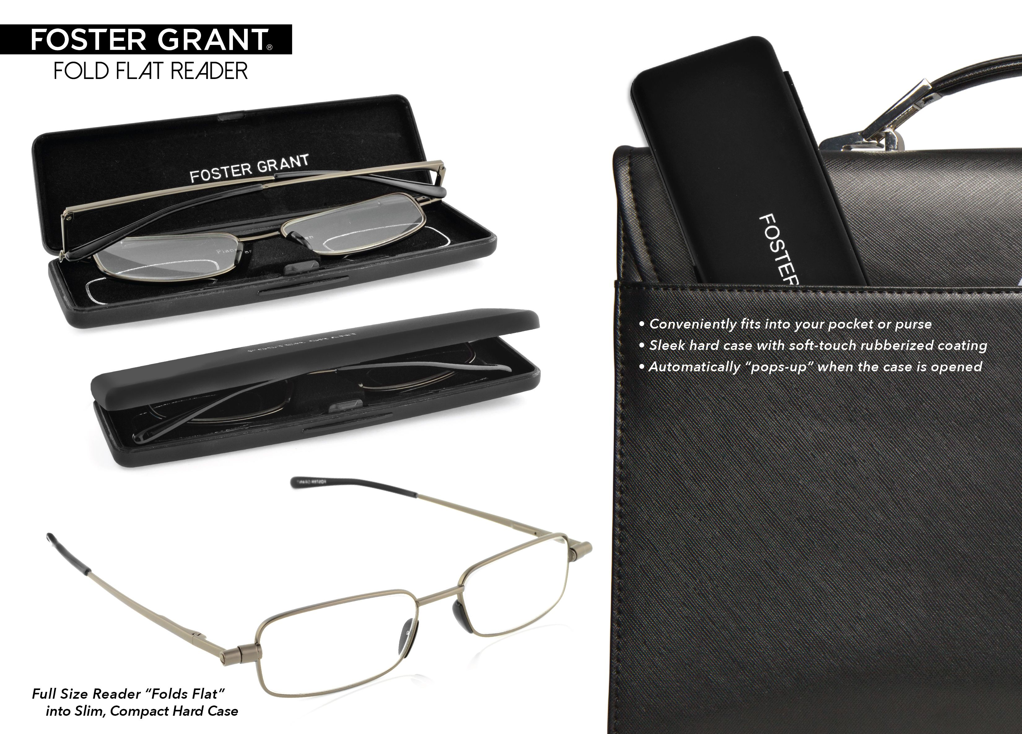 Foster grant reading glasses with hard case
