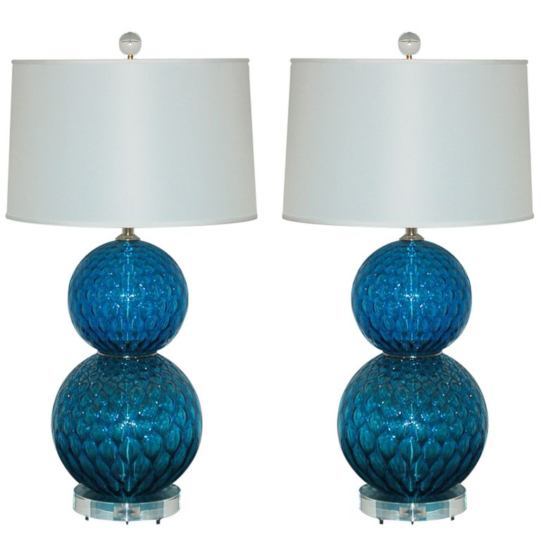 Pair Of Electric Midnight Blue Lamps With Nickel Wafers At The Waist Murano Glass Lucite Nickel Plated Solid Brass Hardware Ball Lamps Lamp Murano Lamp