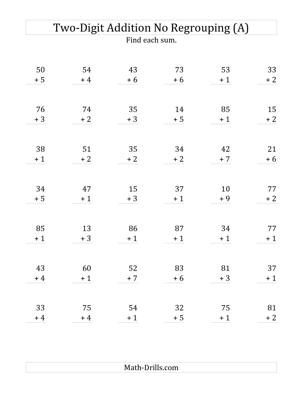 The 2-Digit Plus 1-Digit Addition with No Regrouping (A) math worksheet  from the Addition Workshe…   Addition worksheets [ 1584 x 1224 Pixel ]