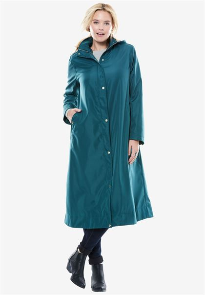 diversified in packaging harmonious colors look out for Water repellent long raincoat | Plus Size Outerwear | Woman ...