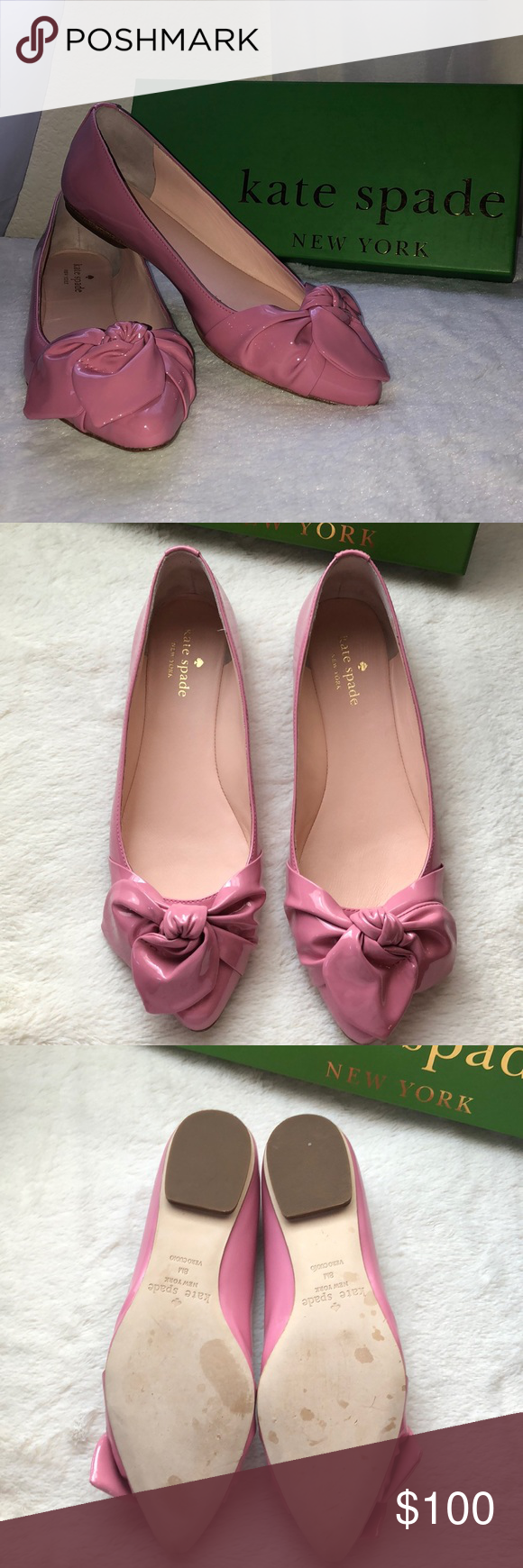 52c0f37870e4 Kate Spade Nancy Flats sz 8 Adorable Parisian Pink patent flats with bow on  toe! Brand new with box! kate spade Shoes Flats   Loafers