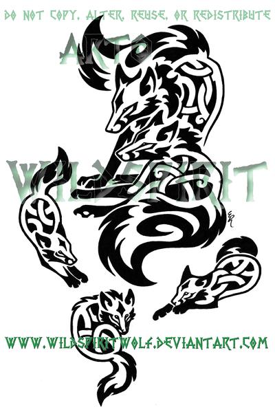 Knotwork Fox Family Tattoo By Wildspiritwolf On Deviantart Family Tattoos Black And Grey Tattoos Tribal Wolf Tattoo