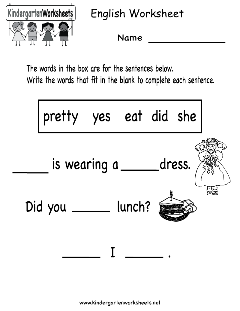English Worksheets For Kids simple addition math worksheets math – Kindergarten English Worksheets Free