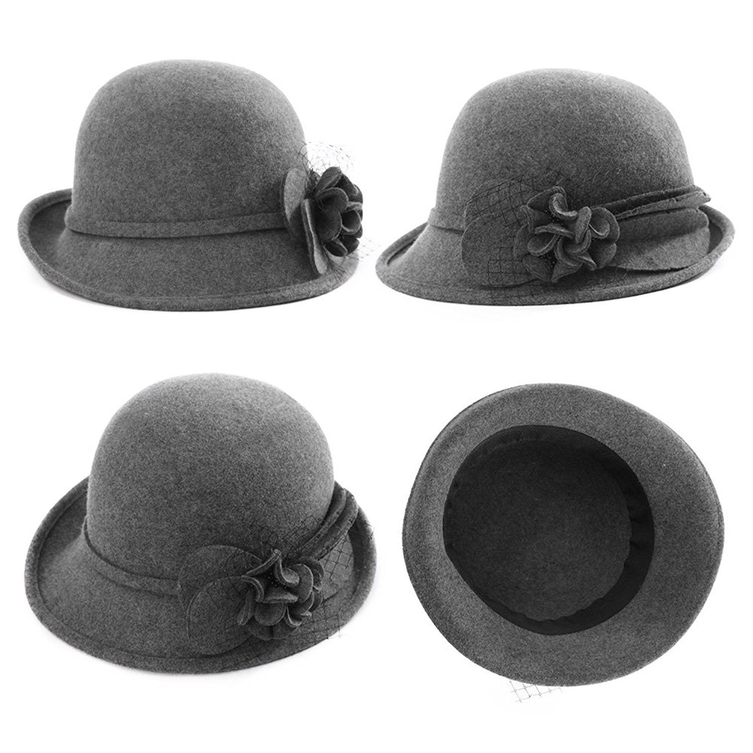 Womens 1920s Vintage Wool Felt Cloche Bucket Bowler Hat Winter Crushable 89073 Grey Cd187cocs7q Outfits With Hats Winter Hats For Women Hat Fashion