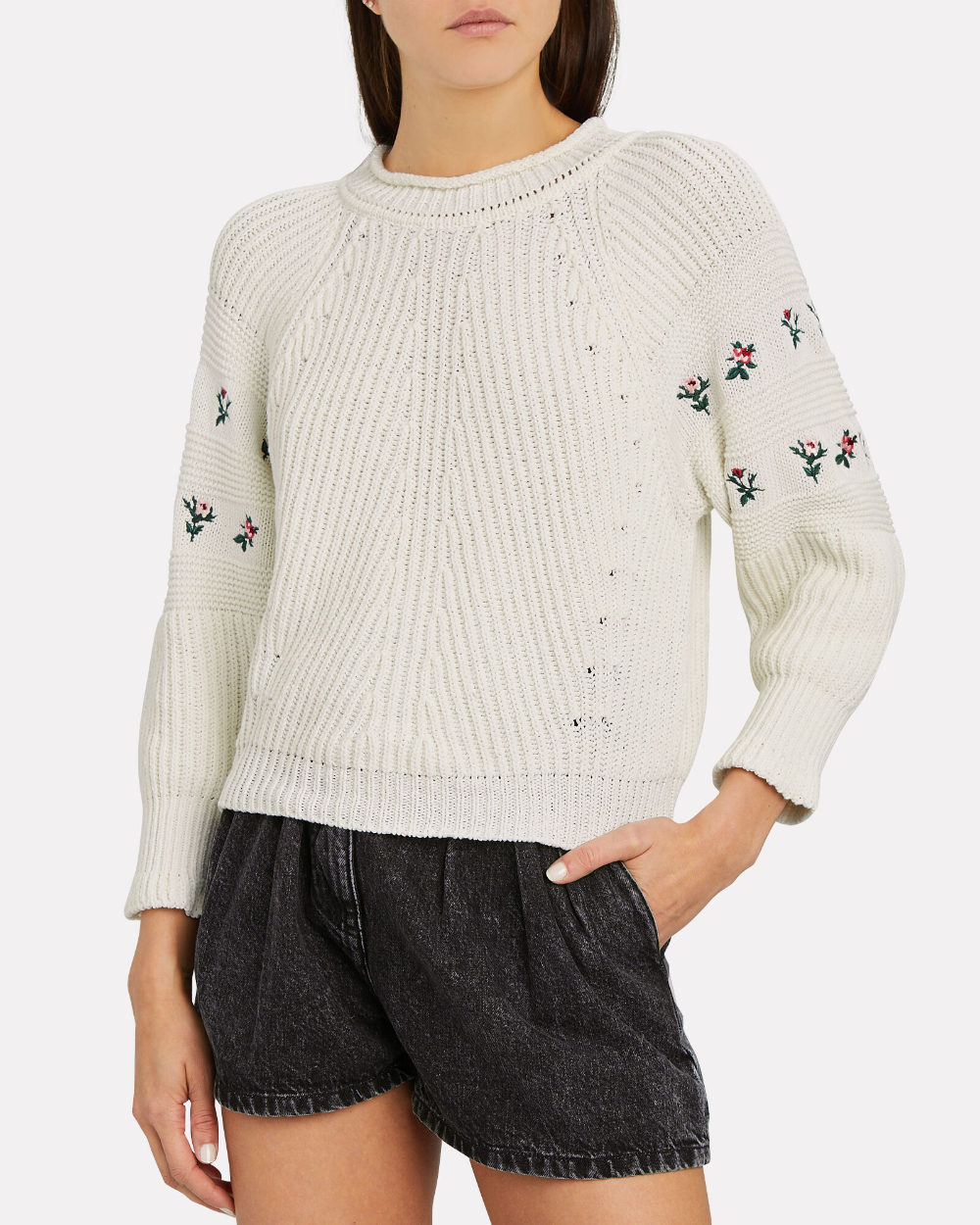 Floral Embroidered Knit Sweater in 2020 | Sweater design