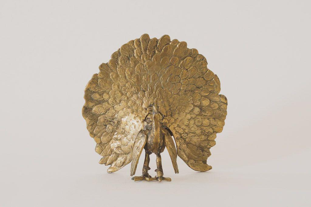 Vintage Brass Peacock - Statue, Figure, Figurine, Decor