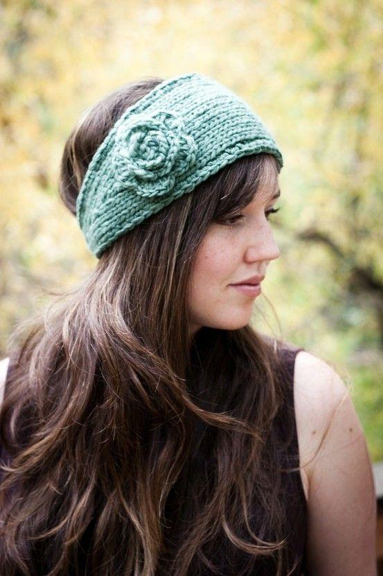 Flower Headband Earwarmer (Knit and Crochet Pattern)
