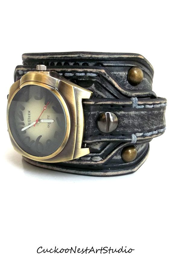 Distressed Men's  Leather Wrist Watch by CuckooNestArtStudio, $98.00
