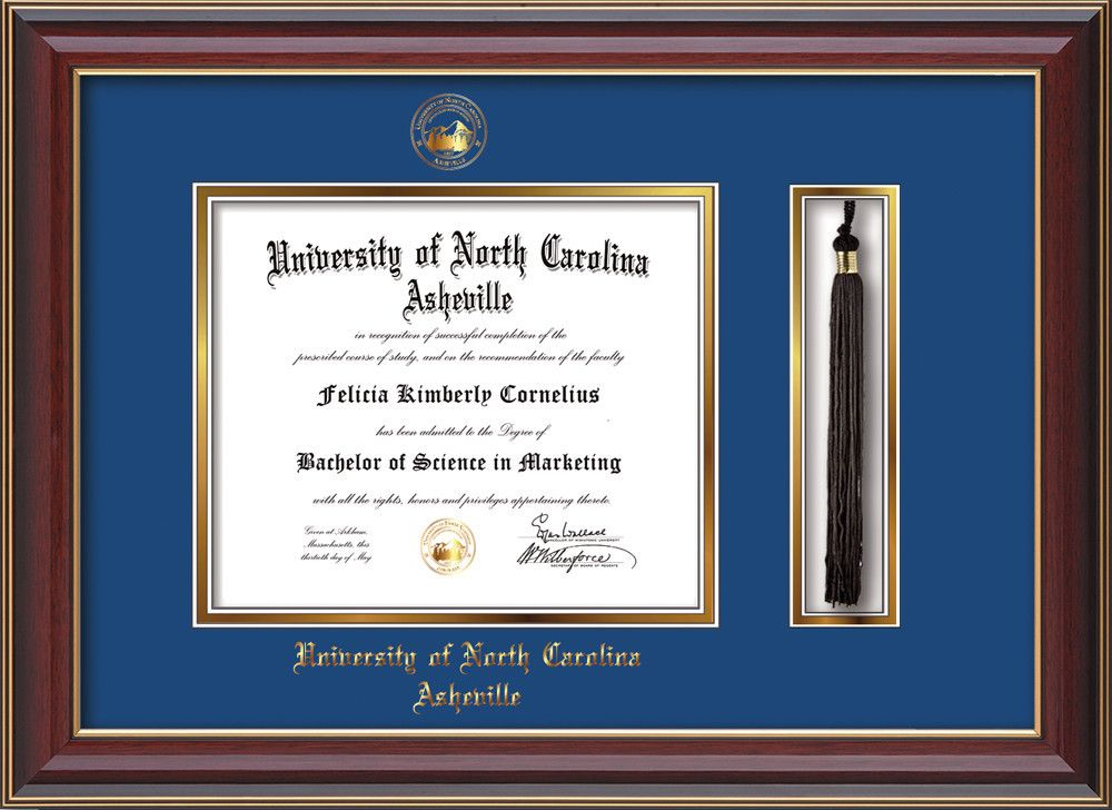 UNC Asheville U. Diploma Frame-Che Lacquer-w/UNCA Tassel-Blue on Gold – Professional Framing Company