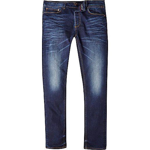 Mens Super Stretch Skinny Designer Basic Mid Blue Stonewash Jeans Pants BNWT New