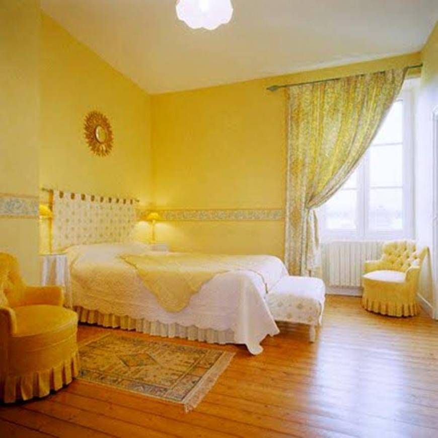 Bedroom Wall Colors Yellow Walls With Hardwood Floor And Side ...