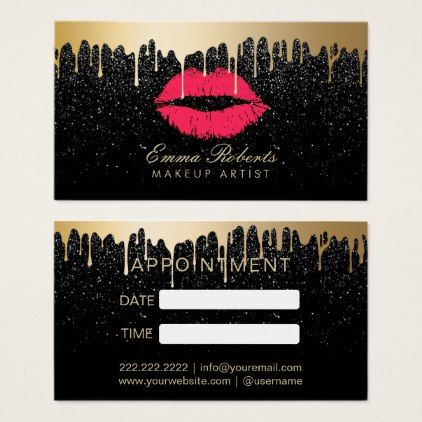#makeupartist #businesscards - #Makeup Artist Red Lips Gold Drips Appointment Business Card