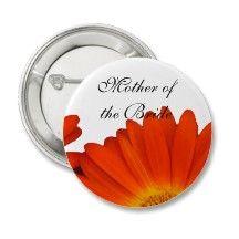 orange gerbera daisy flower buttons for bridal shower