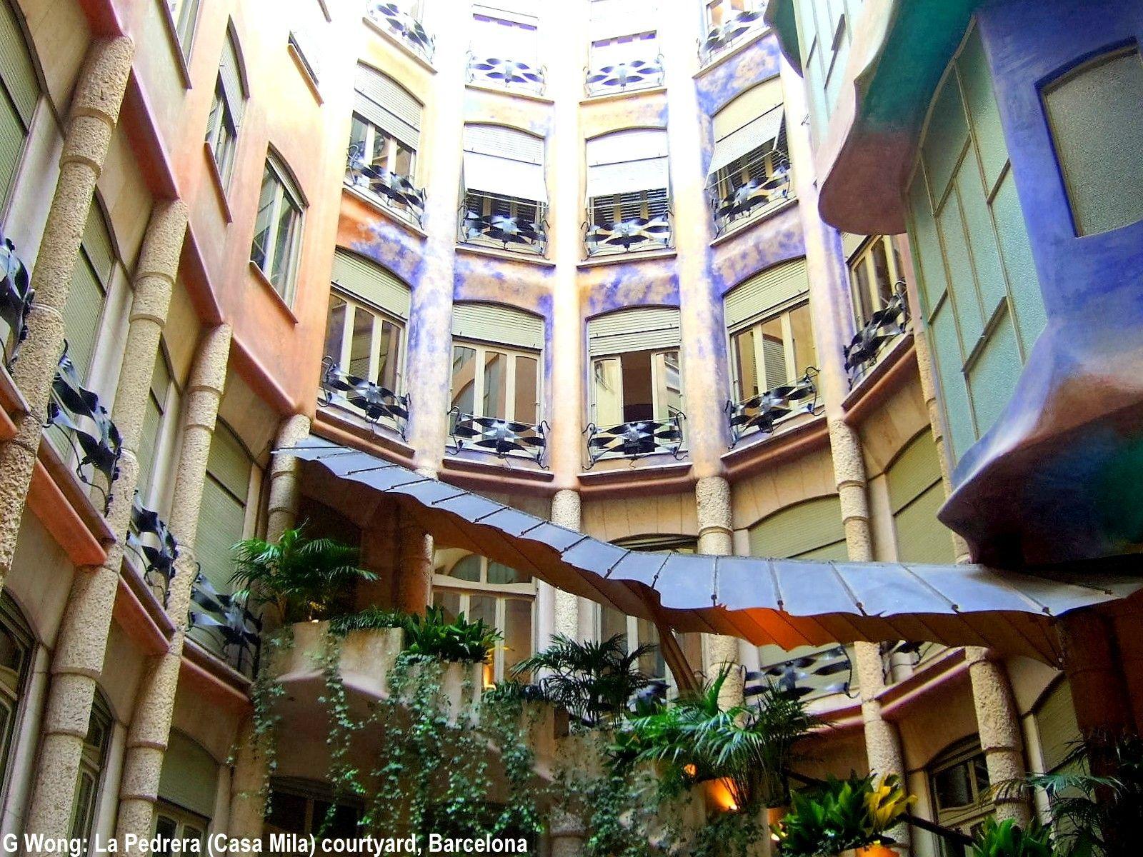 La Pedrera or Casa Mila courtyard (modernisme) by Antoni ... Casa Mila Courtyard