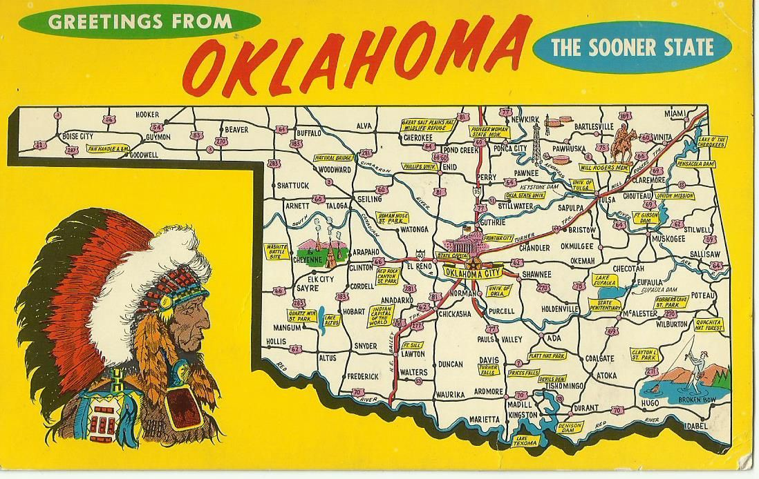 11greetins From Oklahoma My Trip Starting On Route 66 And More Jim Spencer 1971 With Images Postcard Tourist Map Oklahoma