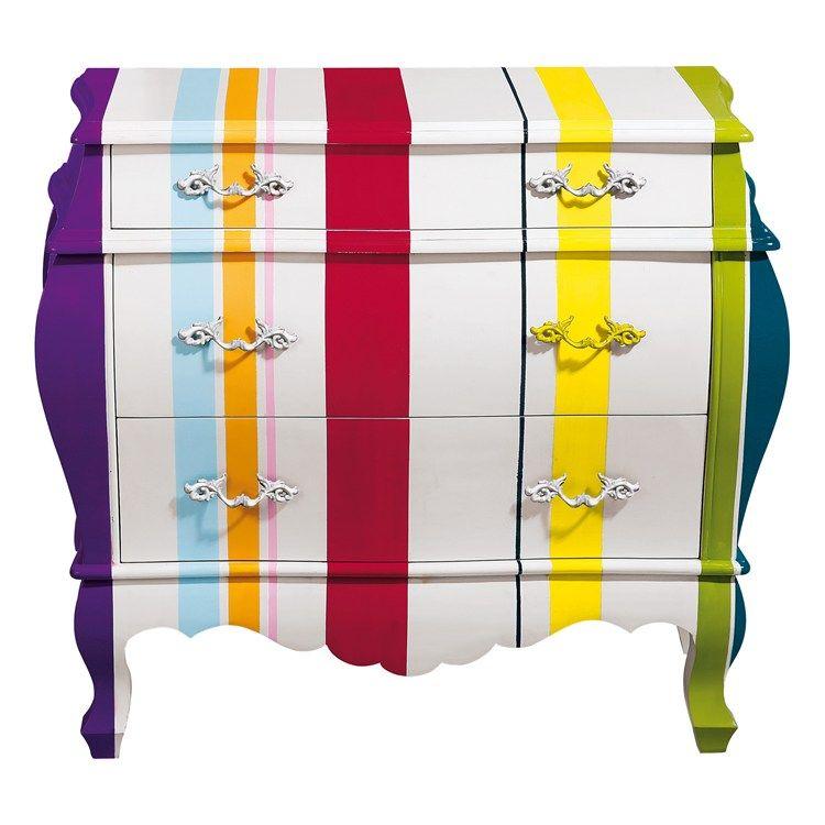 Striped drawers mobili com colorato e mobili colorati for Mobili colorati design
