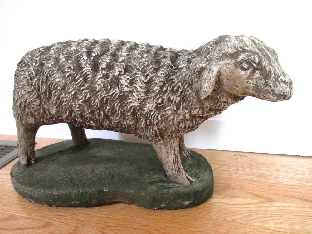 Large Rare Vintage Painted Lawn Statue Garden Lamb Sheep